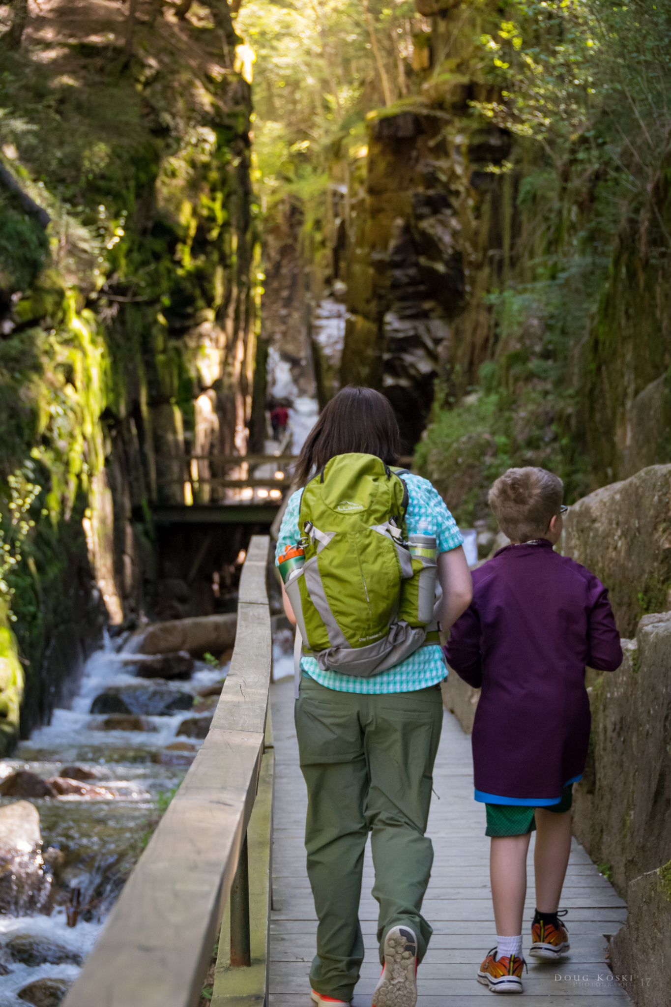 The Flume Gorge - We had made it to the entrance of the Gorge. We all took in the towering granite walls and the water rushing beneath us.