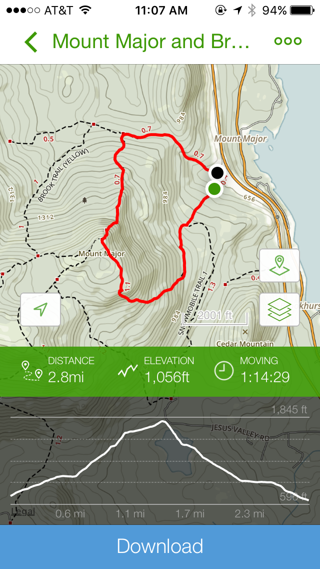 The trail path, and stats. - I've been trying to record more of our hikes with the All Trails app. It's definitely been great for seeing how well we handled each hike.