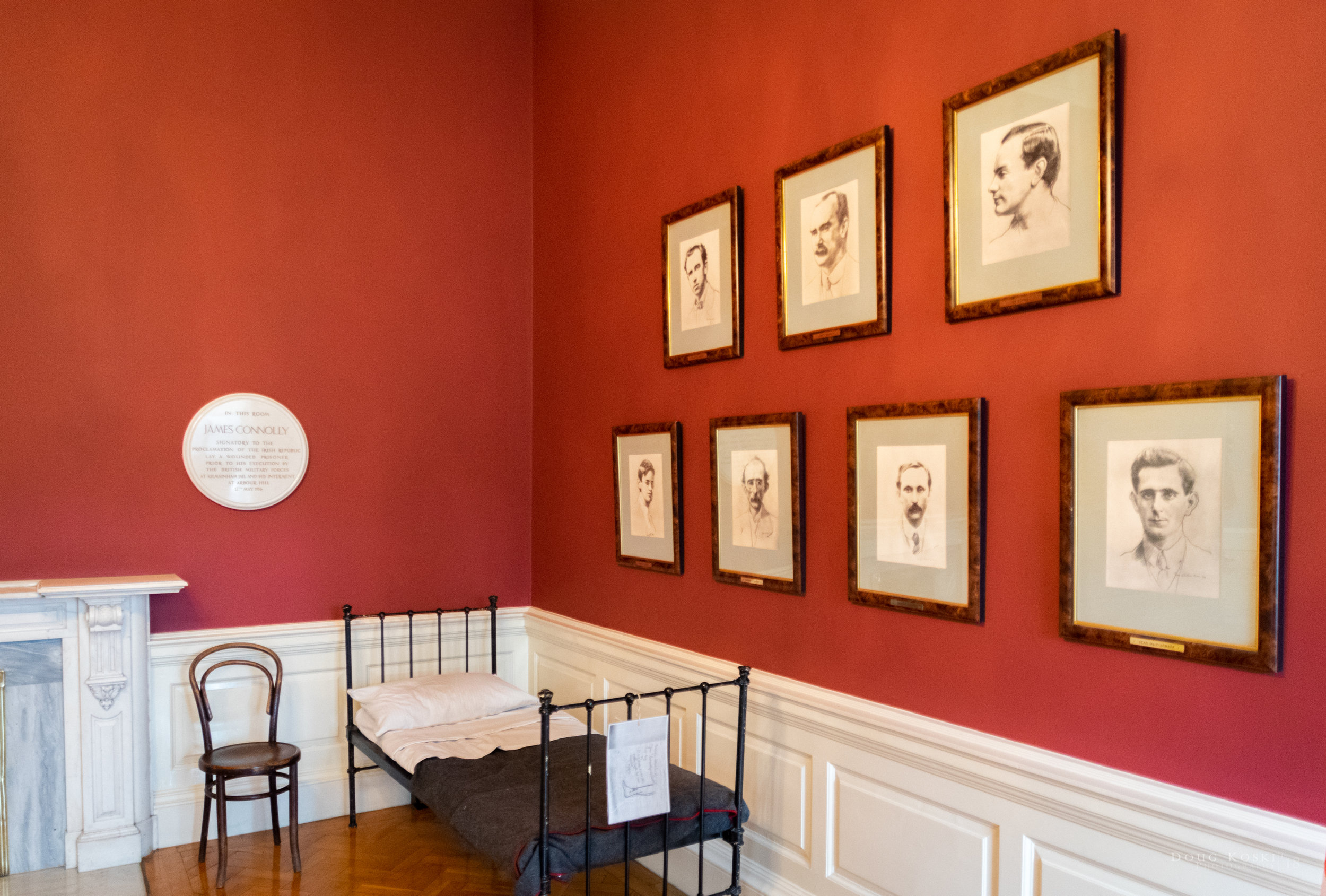 James Connolly - This is the room where James Connolly was held for recovery before being executed. He and the other executed leaders of the Easter Uprising are in the photos on the wall.