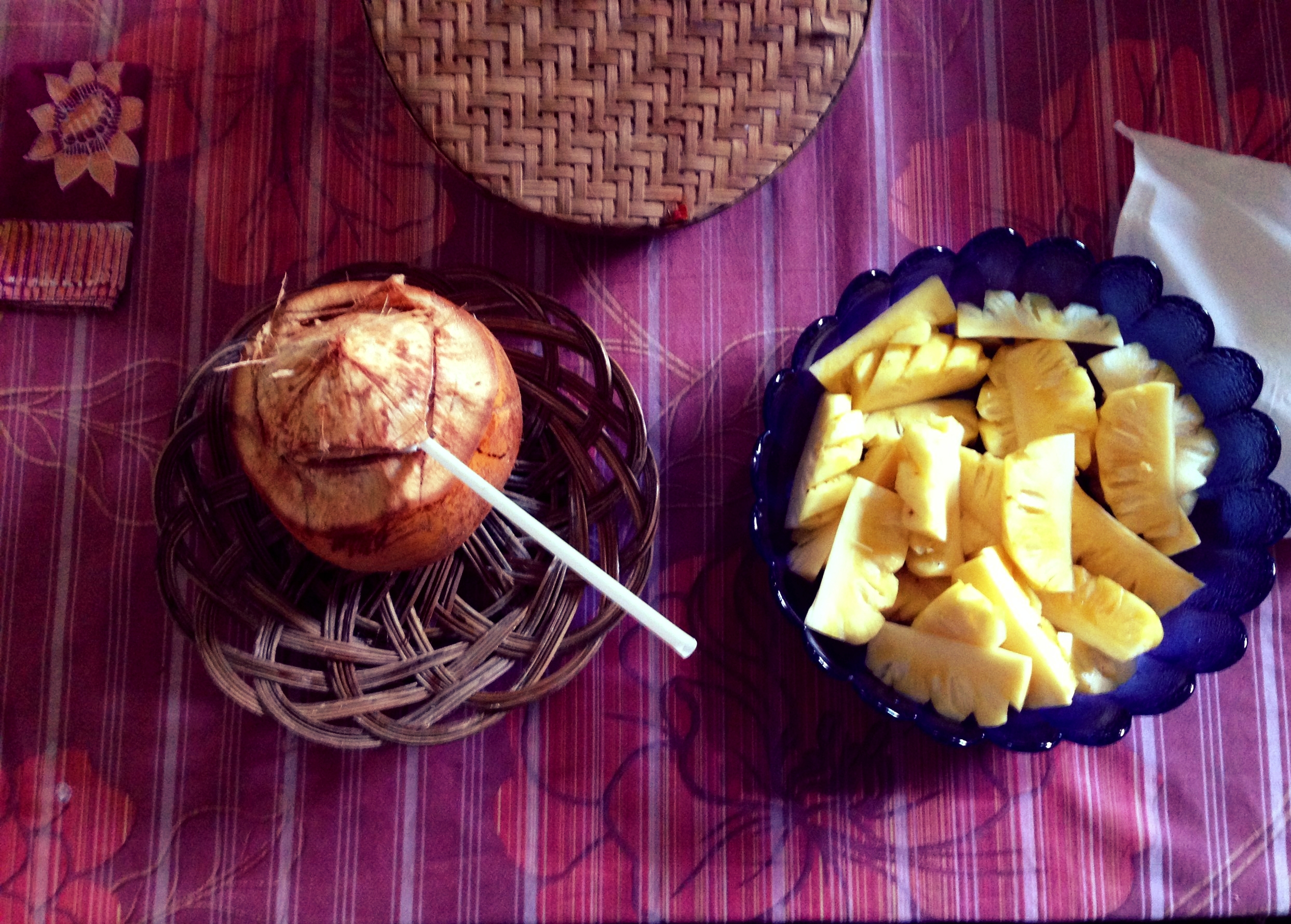 Breakfast - wise old coconut with sweet honey pineapple - both from the garden.