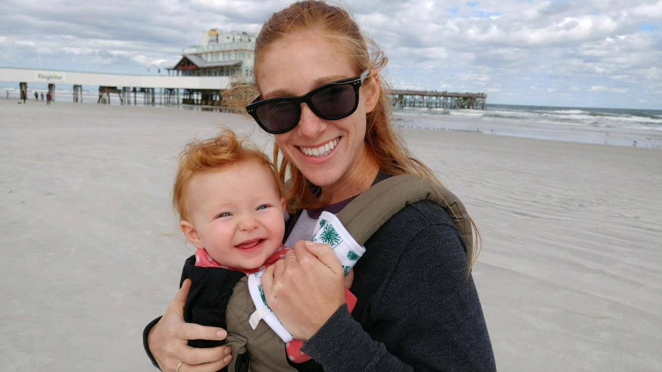 Tara and her sweet little one enjoying some time on the coast