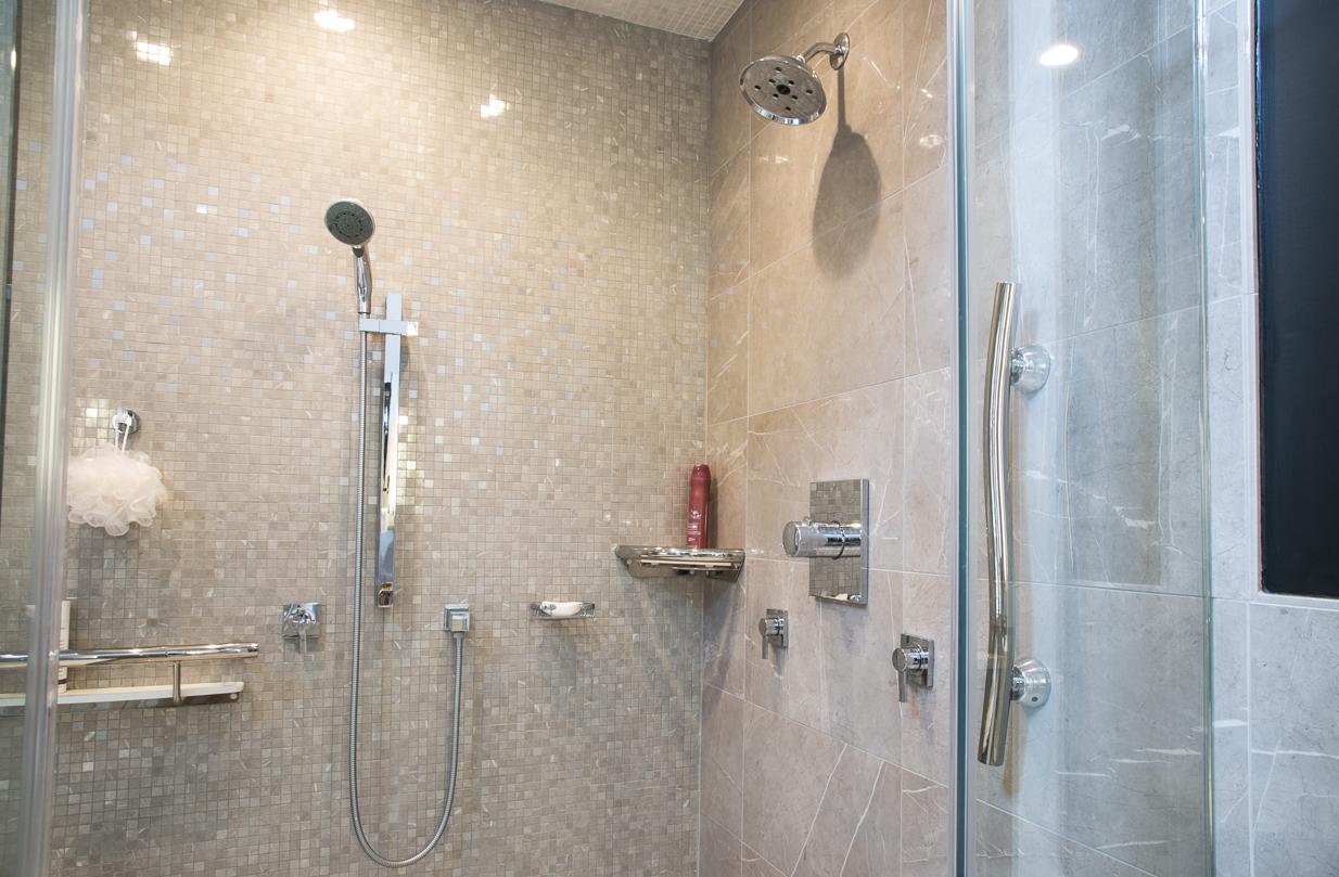 Porcelain wall mosaics 2 shower shelves are also grab bars, modern curved vertical grab bar
