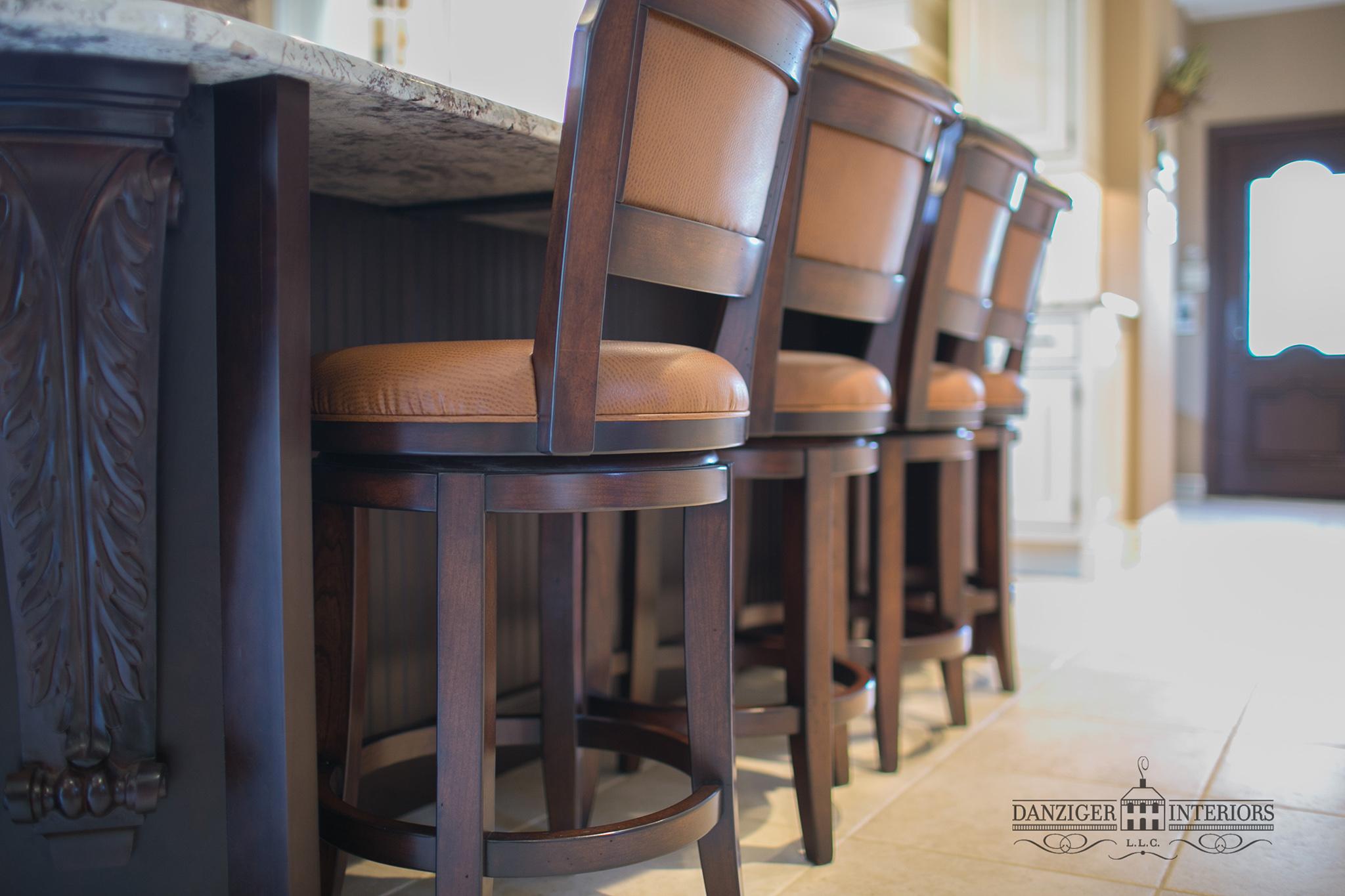Island stools match kitchen chairs