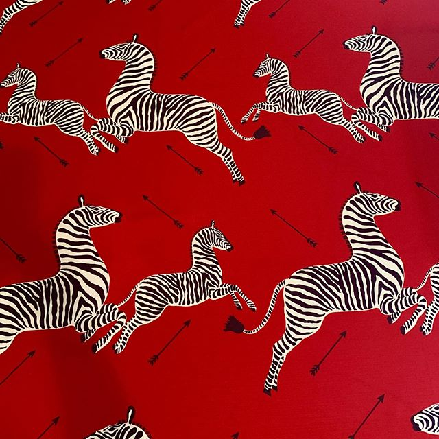 Iconic Scalamandre used for custom wall piece and new chair pads for mid century modern chairs #Scalamandre #zebraprint