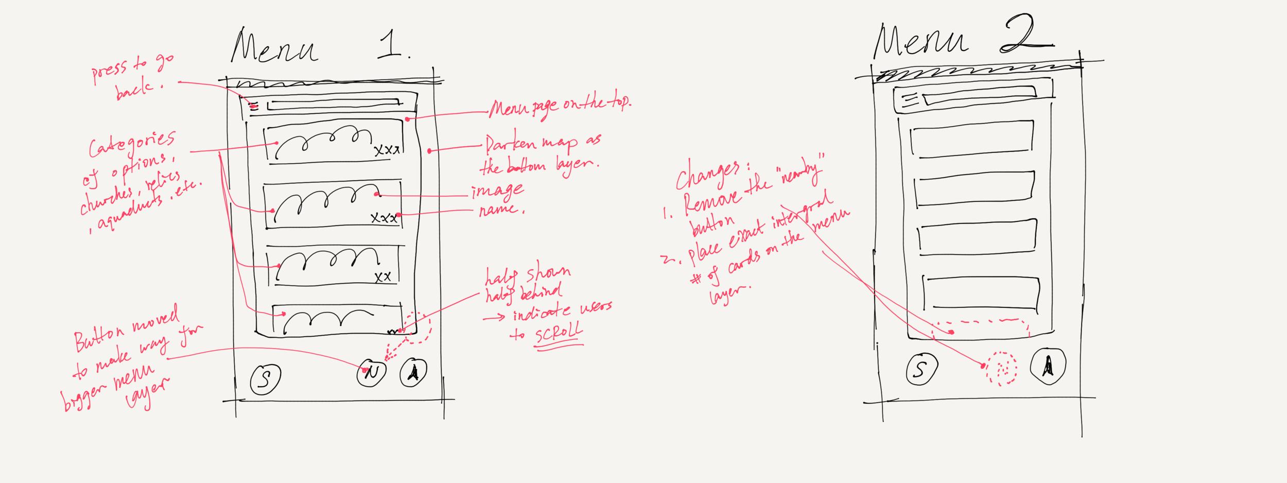 Menu tab wireframe modification