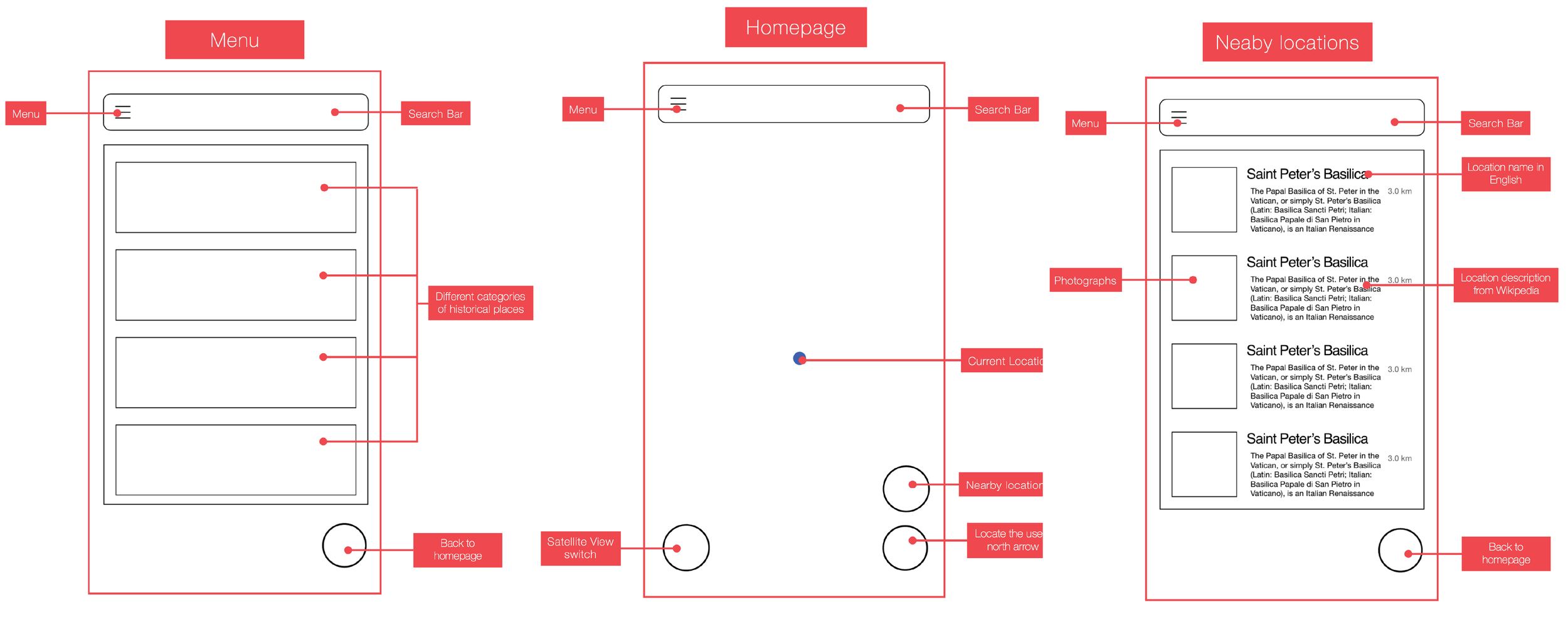 Homepage, Menu, Nearby locations wireframes