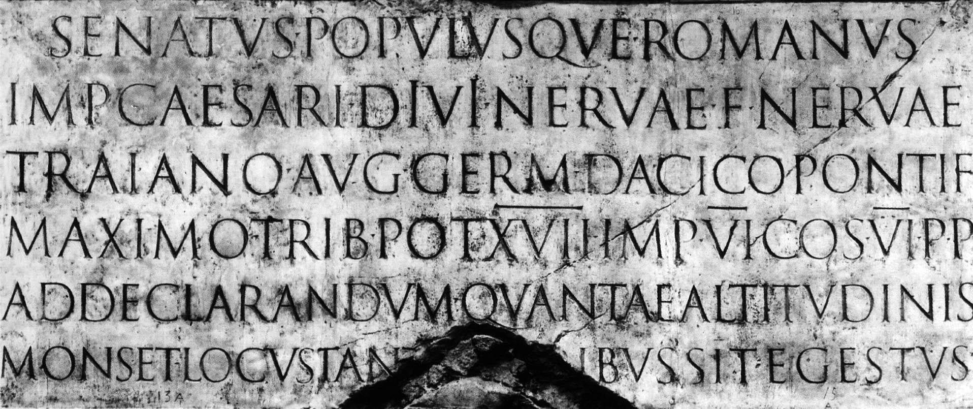 Latin inscriptions on emperor Trajan's column