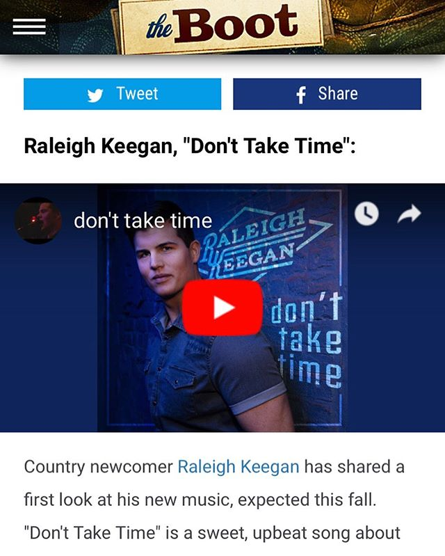 "@raleighkeegan 's ""Don't Take Time"" on @theboot_dotcom 's ""5 New Songs You Need To Hear"" 👊🏽👊🏽 #donttaketime"