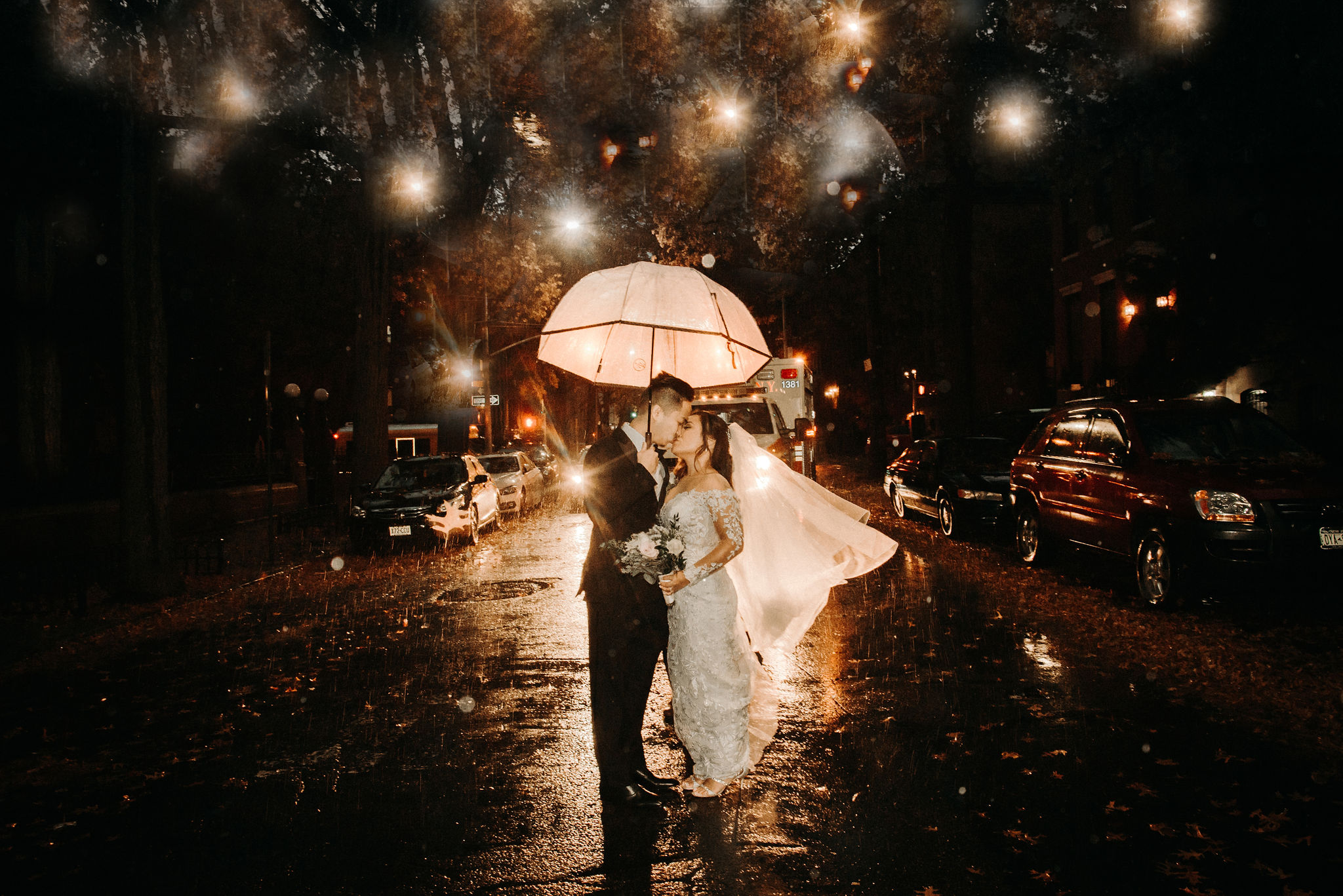 Playing in the rain with the married lovebirds -