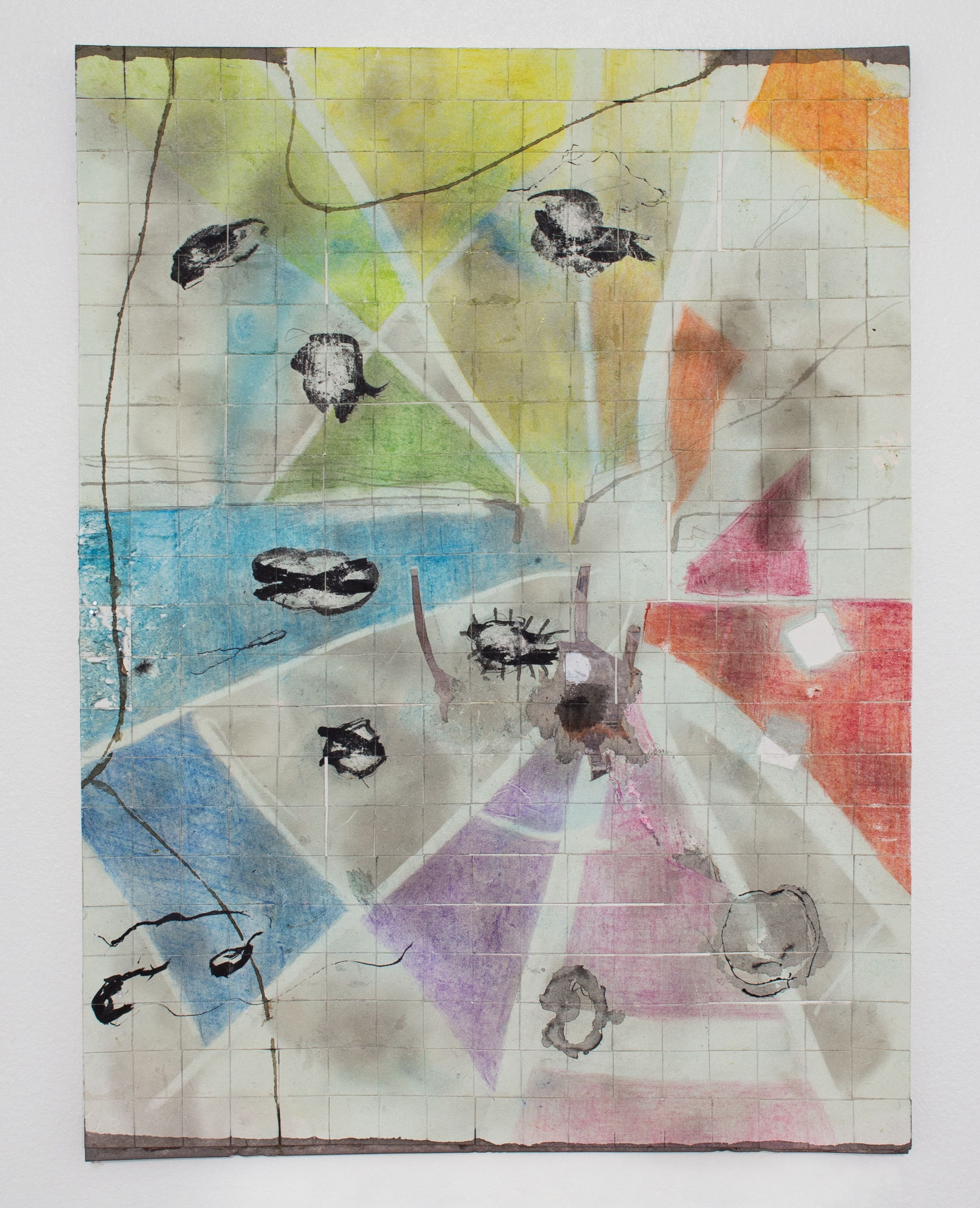 Untitled (Quilted Spectrum Collage)  , 2018  ink, color pencil, ash, collage on cut and dyed paper