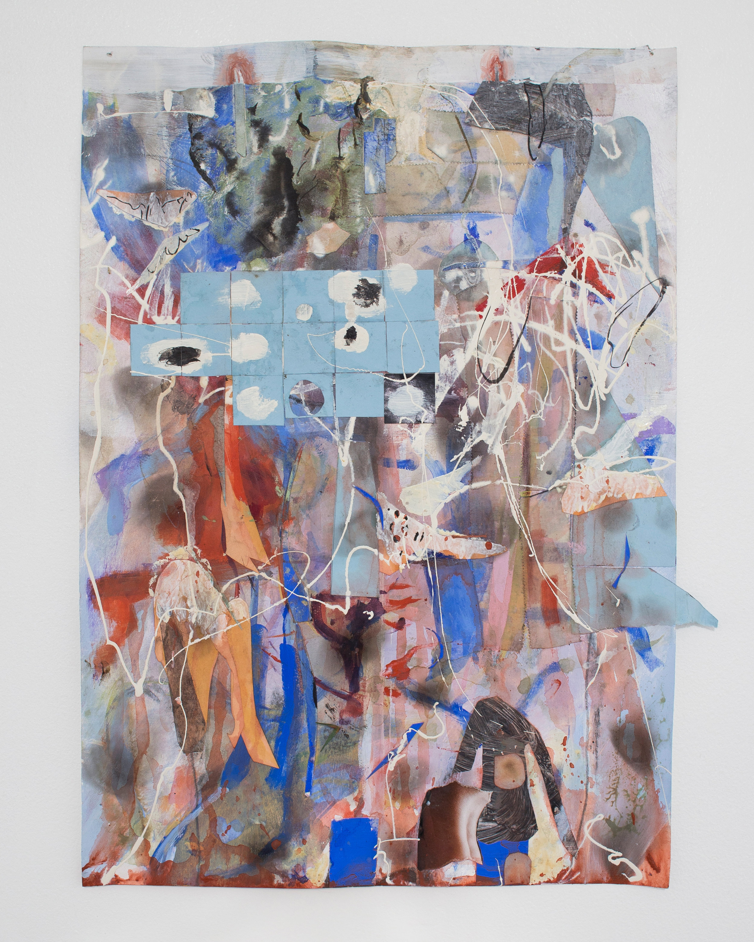 Untitled  , 2016-17  acrylic, ash, graphite, collage on paper