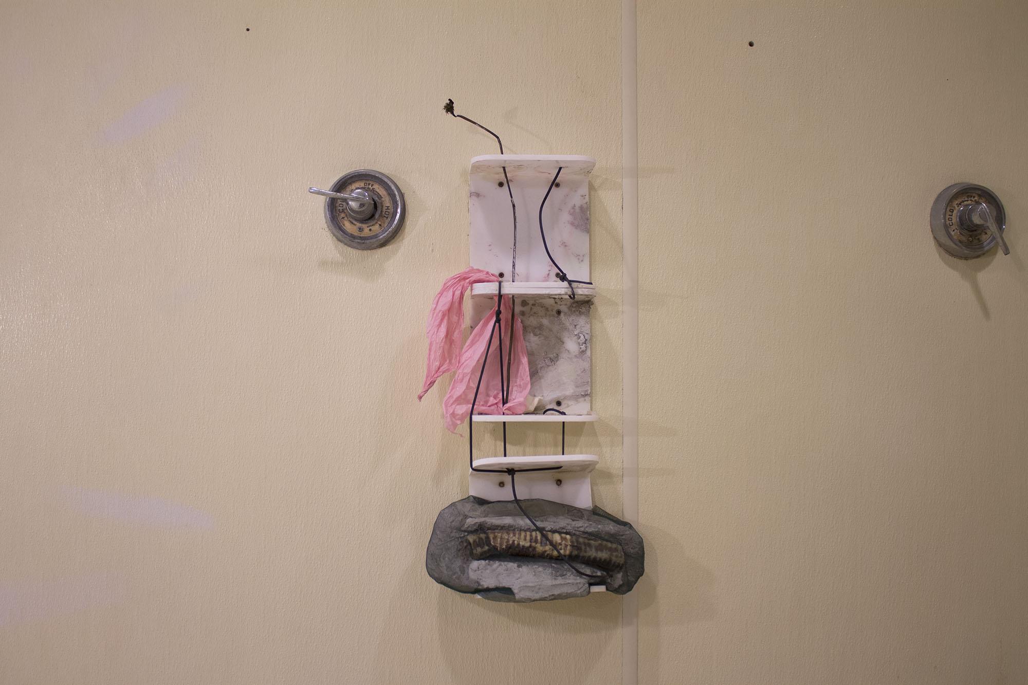 Singing    rose stem, tissue paper, concrete, mesh fabric, dried cow trachea, plastic shower caddies, iridescent pigment, plastic cord