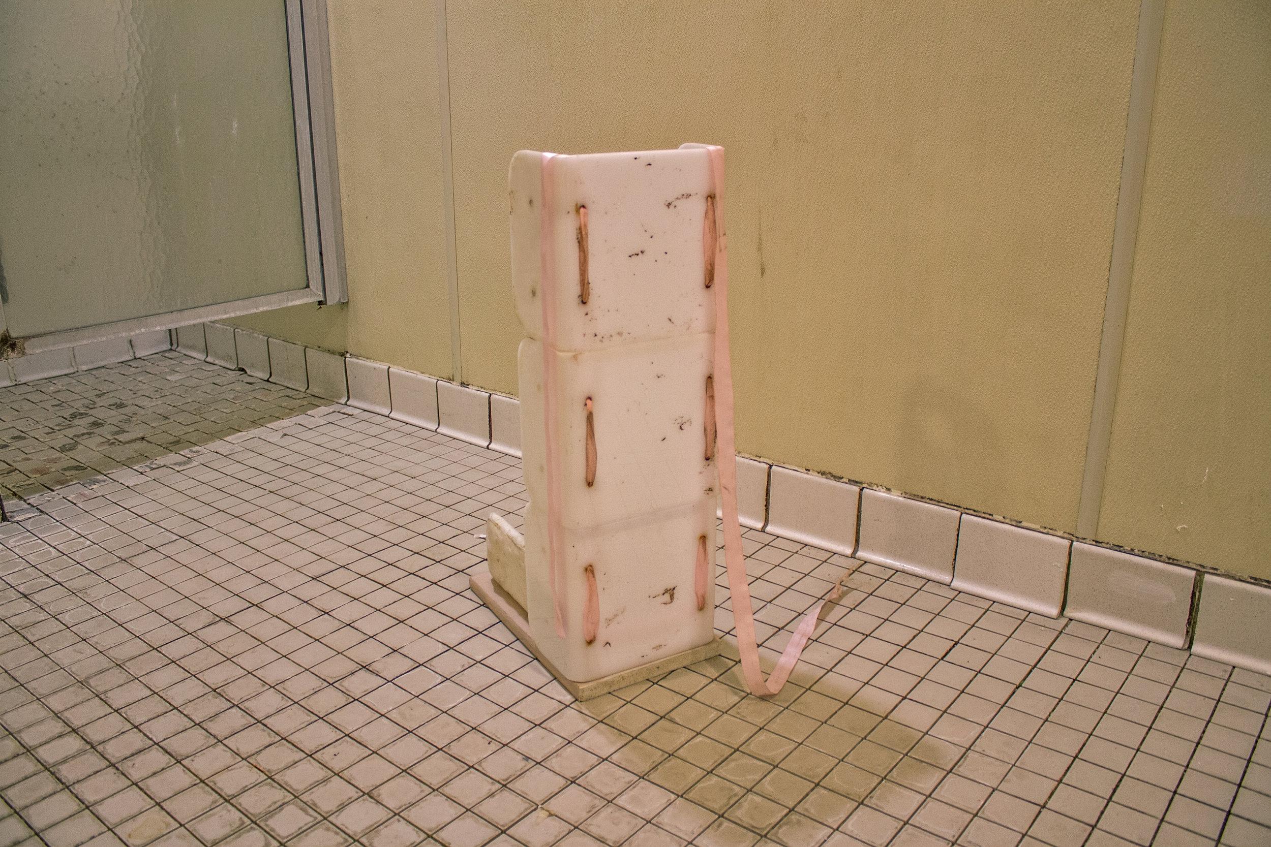 ribbon, plastic shower caddies, found cloth, thread, wood