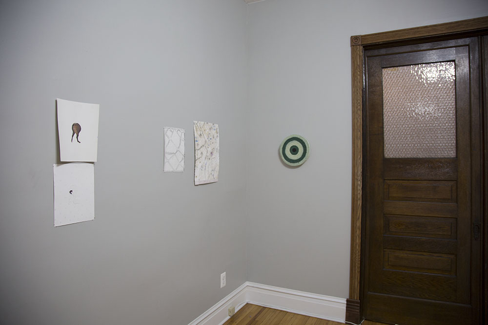 Installation view of   Quicksand Porn  , 2017. Two person show at The Bell Jar, with Izah Ransohoff.  Right:   Oklahoma City   ,  2015-2016  dyed canvas, thread, acrylic on wood