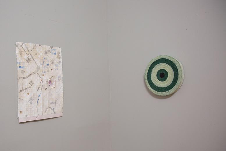 Left:  A    Cosmology   , 2016-2017    Right:    Oklahoma City  , 2016  dyed canvas, thread, acrylic on wood