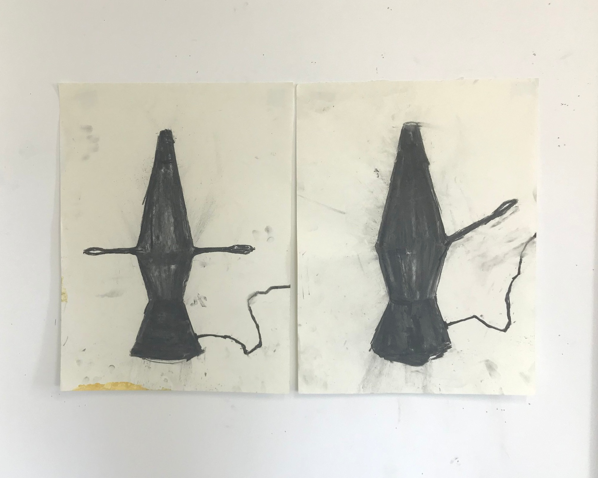 studies for Cast Iron Lava Lamp sculptures, 2019  charcoal on paper