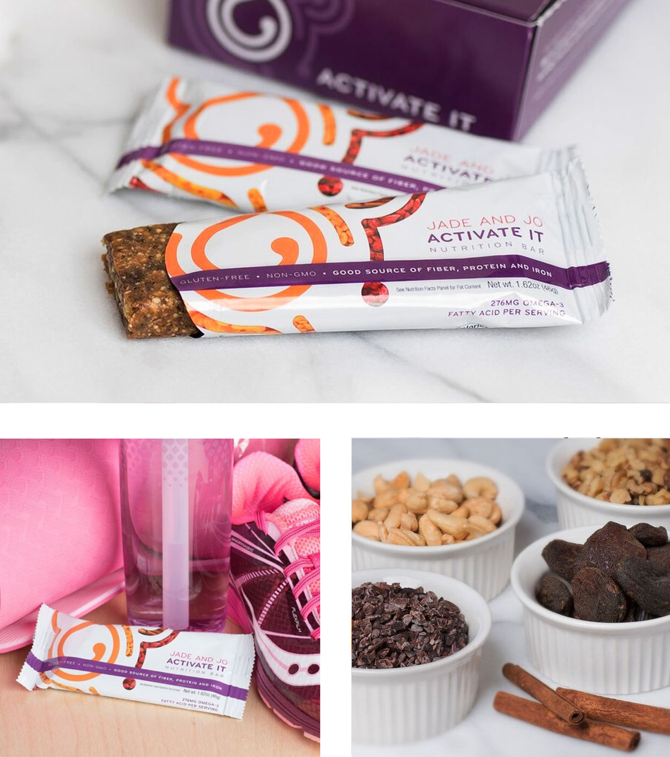 ACTIVATE ITNUTRITION BARS - Jade and Jo Activate It NutritionBars have combined Eastern andWestern nutrition philosophies, andall the right ingredients, to providea nourishing grab-and-go tonic thatsupports your body's reproductiveenergies.