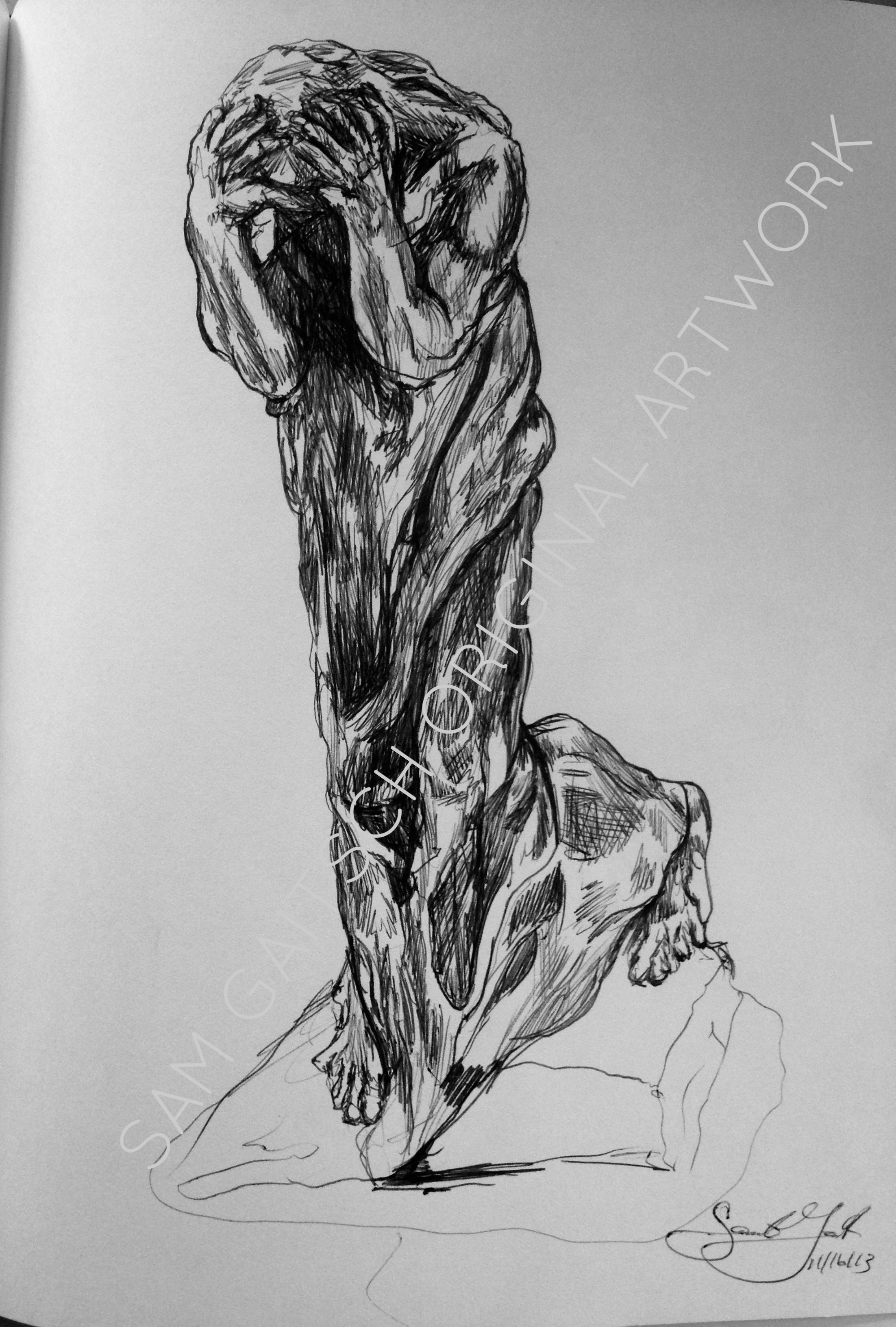 "Rodin sketch (2014) 8.5""x11"" Ink"