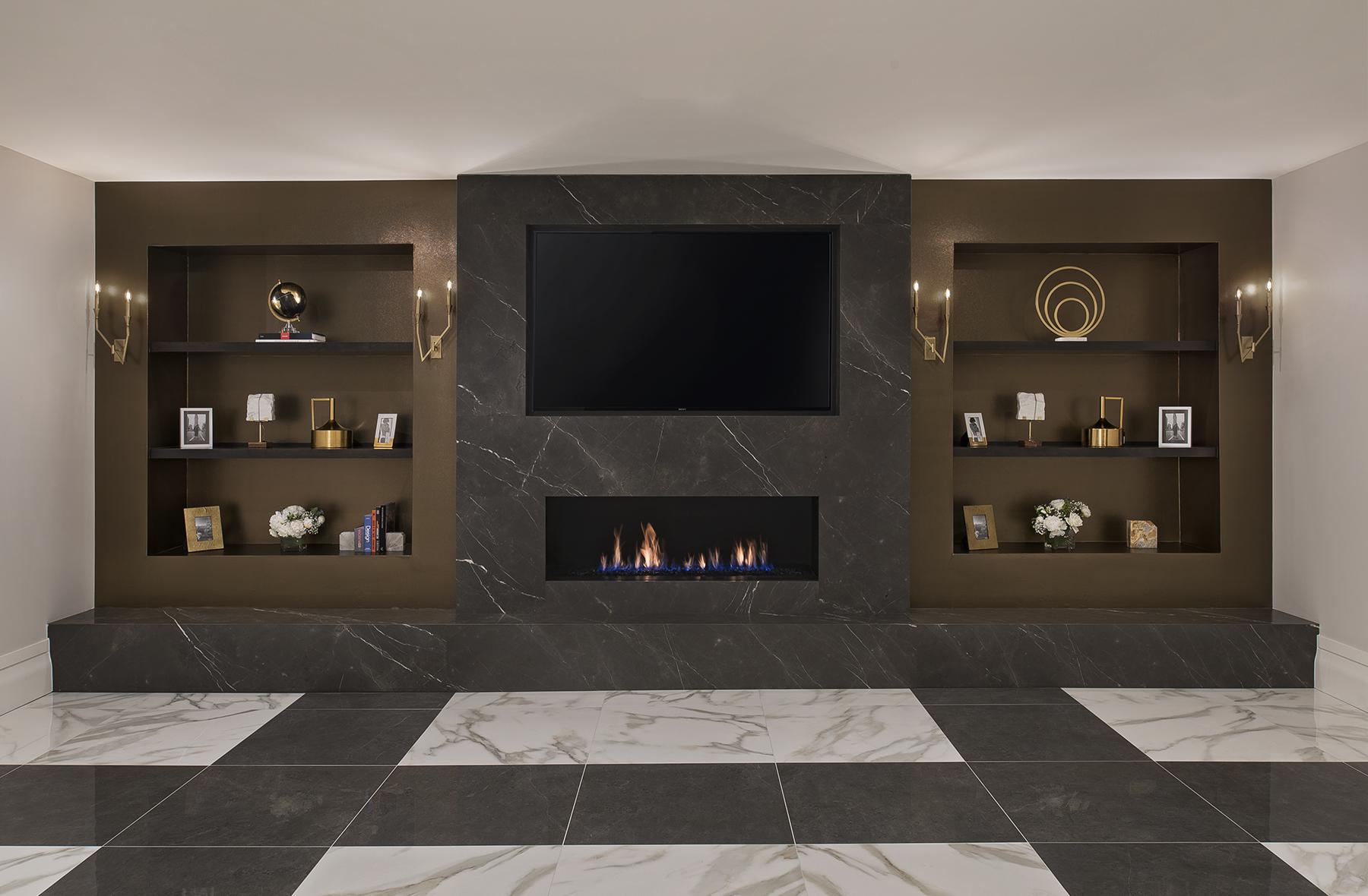 Lower Level Lounge Fireplace