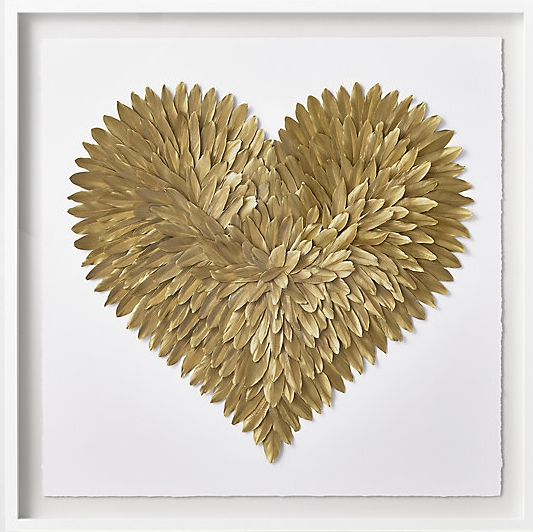 gold feathered heart framed art