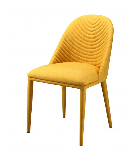 pair of yellow upholstered dining chairs