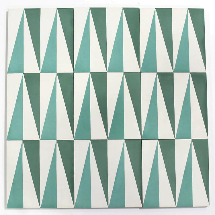 green + white geometric cement tile