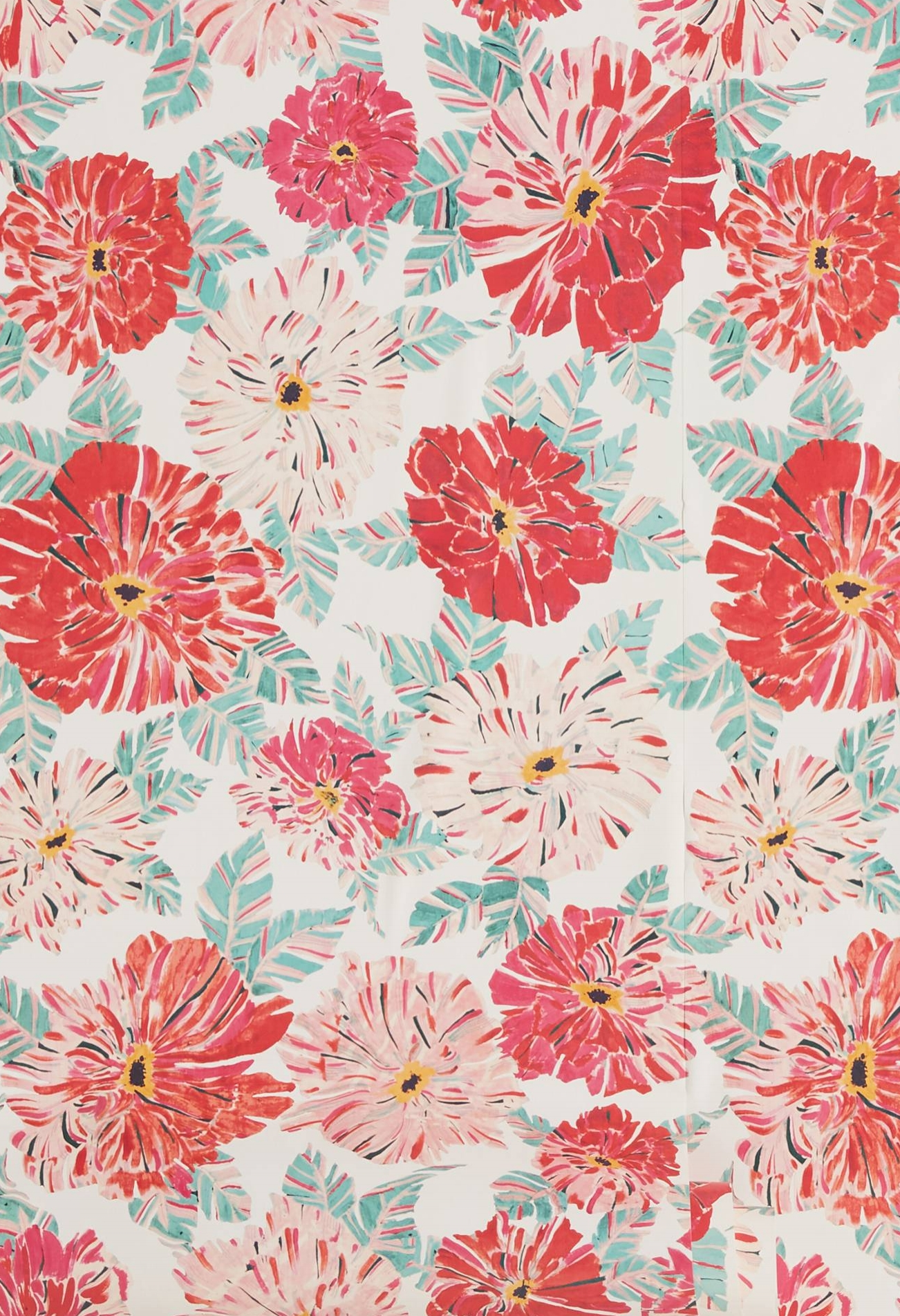 red + pink floral wallpaper
