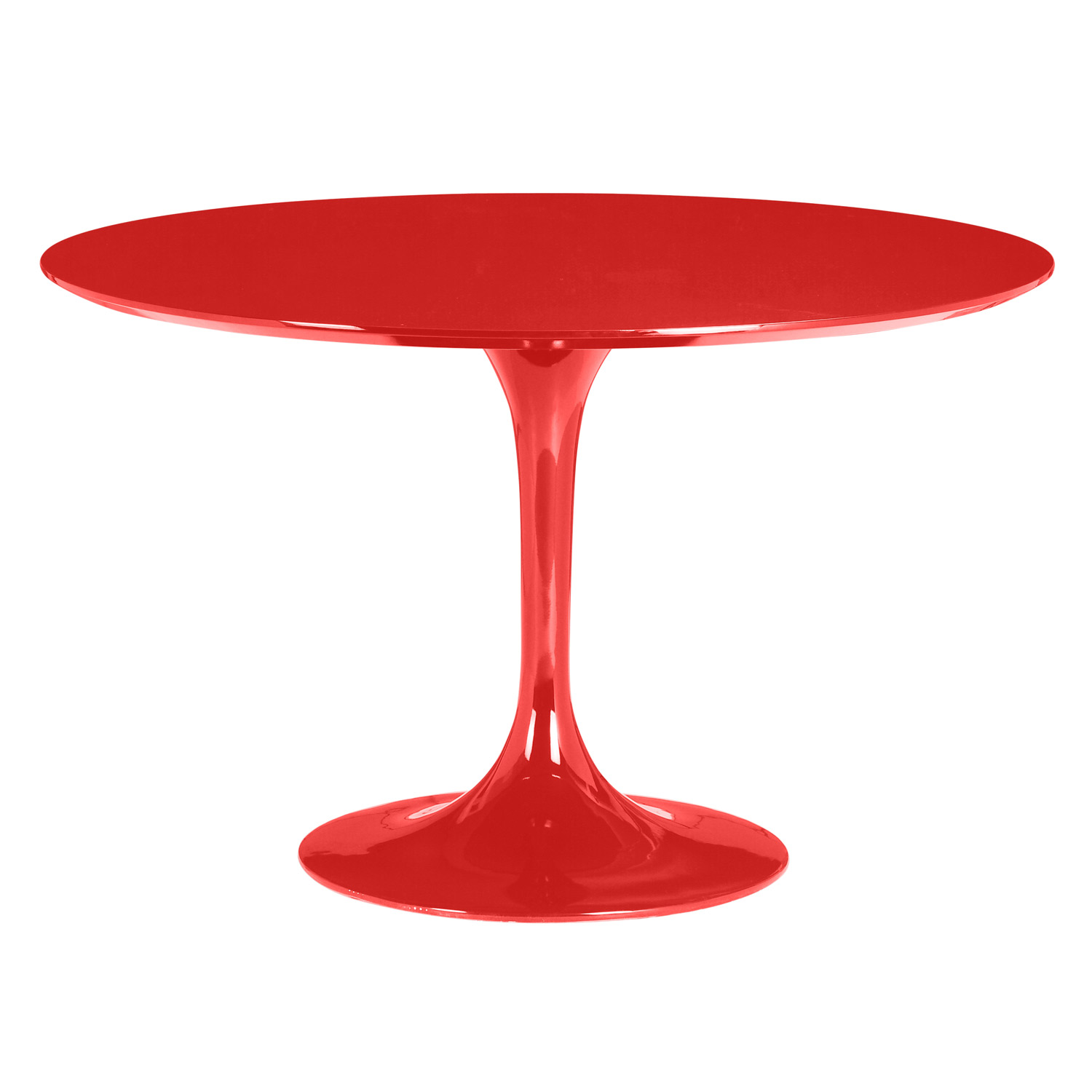 red tulip-style dining table