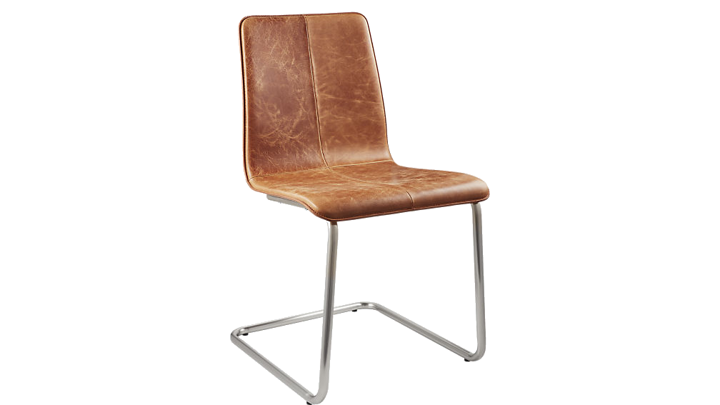 leather + chrome dining chair