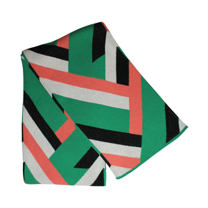 recycled cotton emerald + coral throw