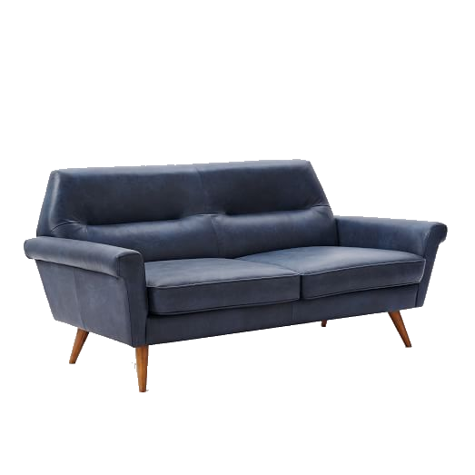 french navy leather loveseat