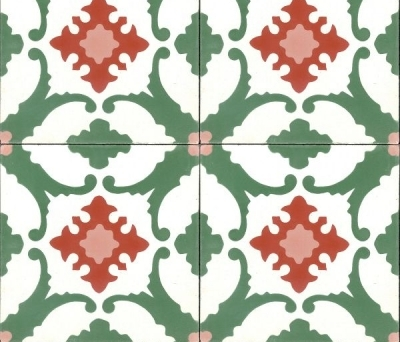 green + red mexican encaustic tile