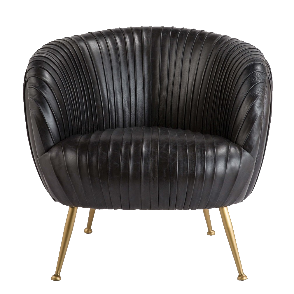 tufted black leather chair