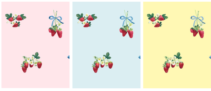 strawberry wallpaper in varying colorways