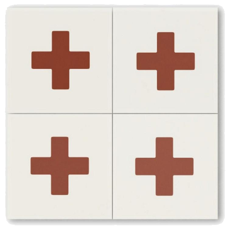 white + red cross cement tile