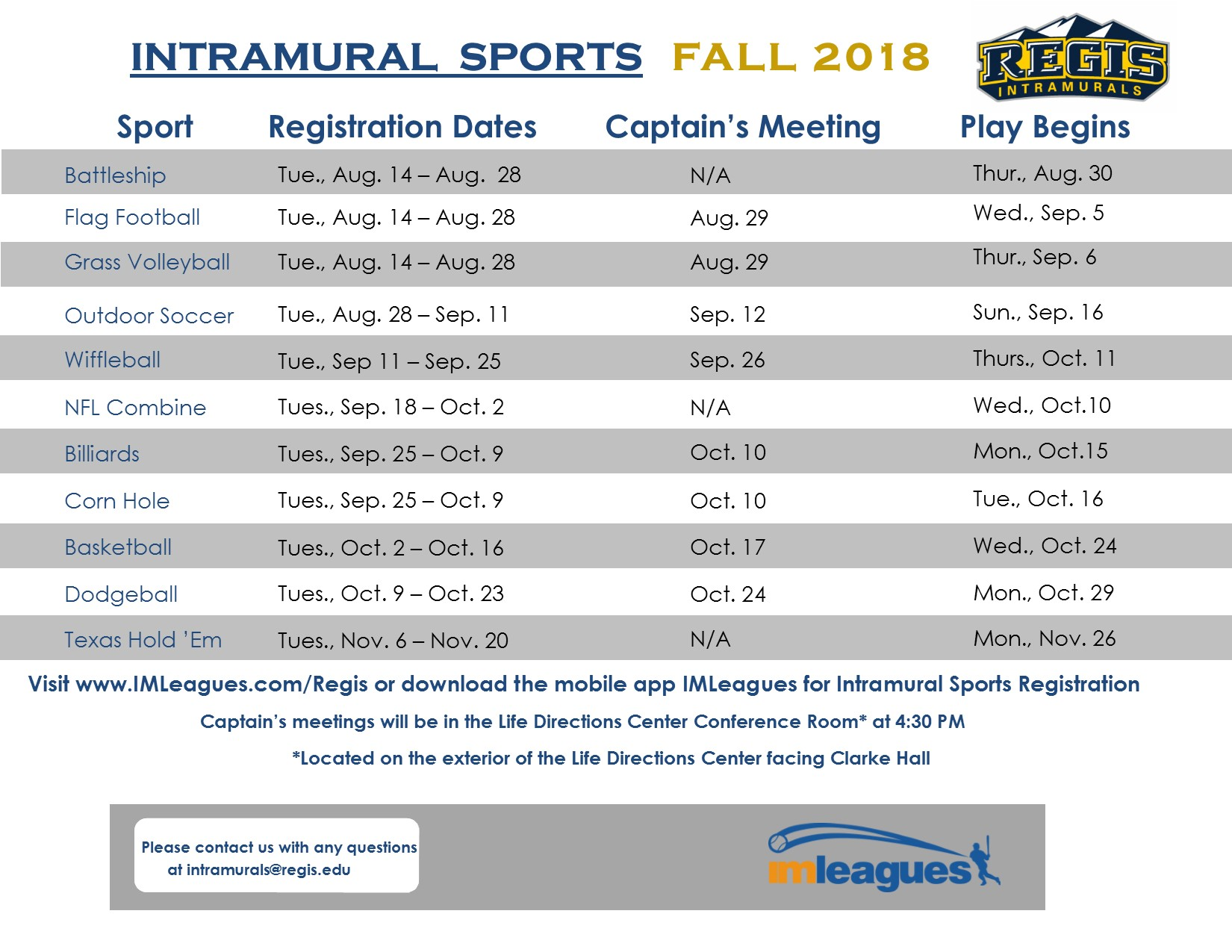 Schedule of Intramurals, provided by Fitness Center