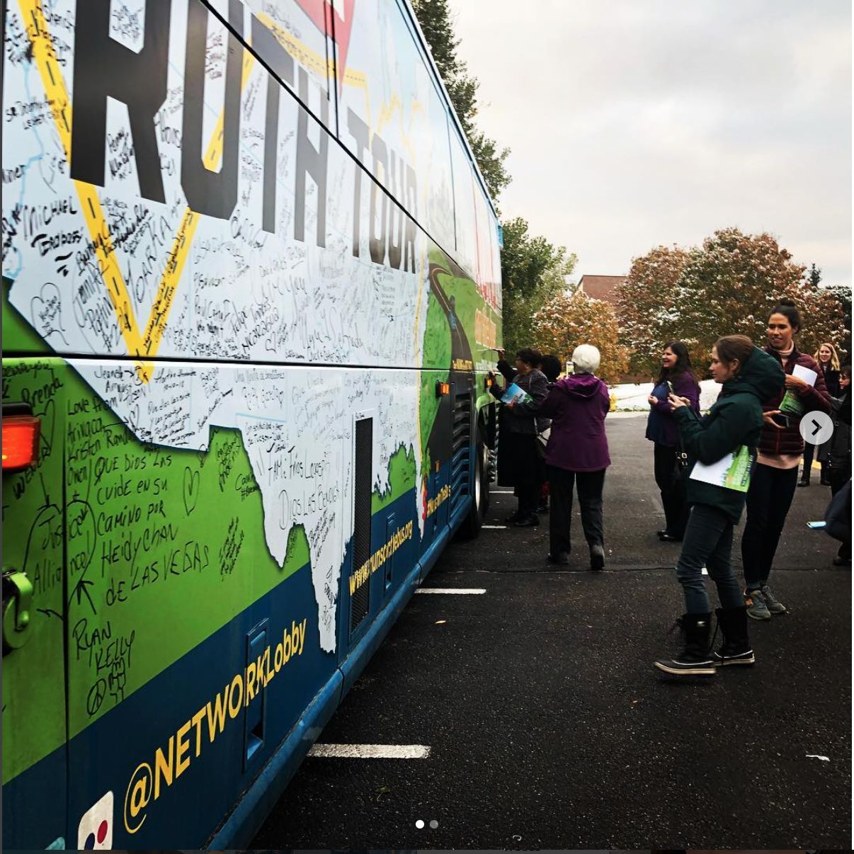The Nun's Bus in all it's glory on Regis' campus //Frances Meng-Frecker