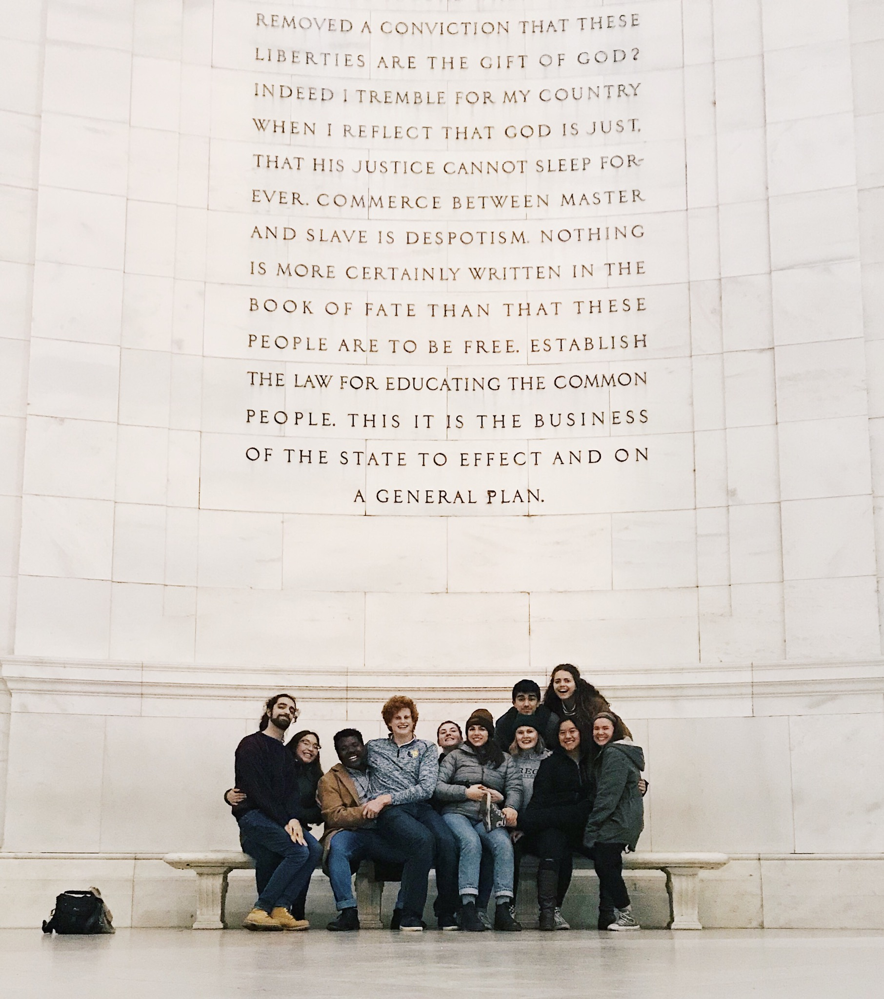 Regis IFTJ traveling team in Washington DC at the Jefferson Memorial. //Photo courtesy of Natalie Nielsen