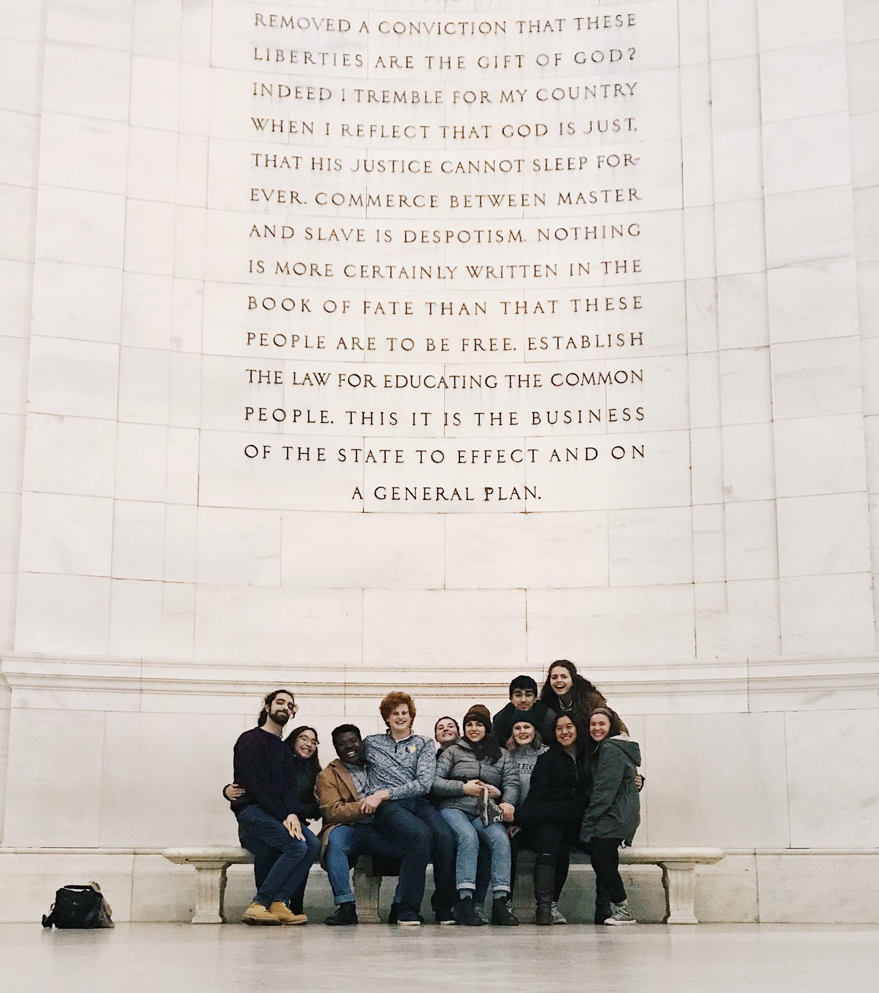 Regis IFTJ traveling team in Washington DC at the Jefferson Memorial. //Photo courtesy of Natalie Nielsen