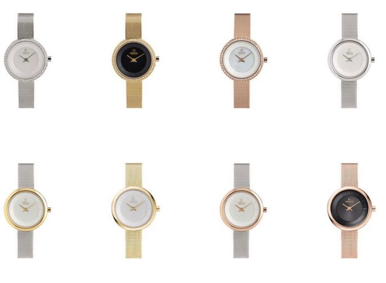 A small sampling of the sleek fashion watches that will accessorize any outfit.  She'll love the slim profile and elegant look.