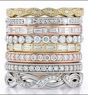 Buy one or stack a few, these thin rings are perfect for any finger.  Available in yellow, white or rose gold the rings can be plain, with diamonds or with gemstones to symbolize a special month or children's birthstones.