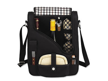 Insulated two bottle wine and cheese carrier for picnics, boating or to take to a friend's.  This is a useful, yet appreciated gift.