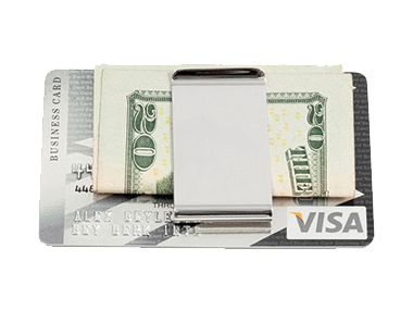 Money clips are a perfect gift and can be personalized with his name or a special message. This clip has a double slot for money and credit cards or driver's license.