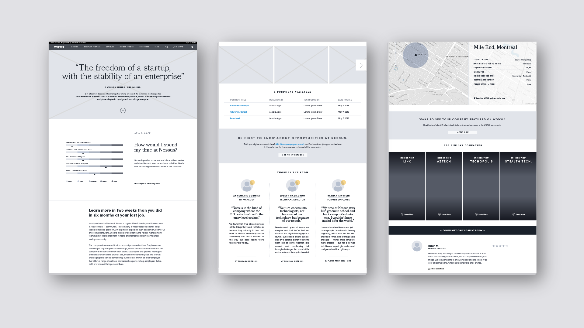 Feature design, design wireframes