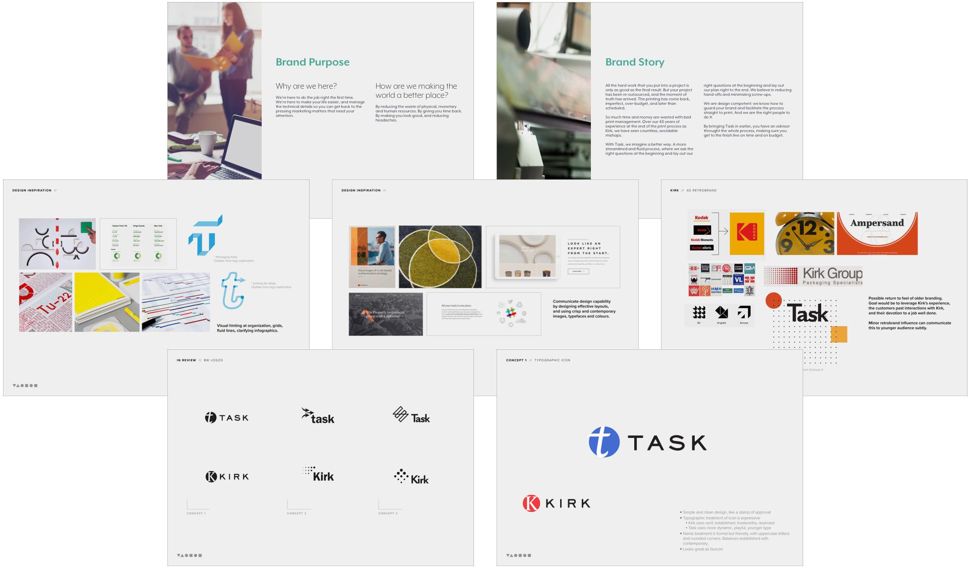 Brand story and initial concept slides.  Chosen logo design concept, bottom right.