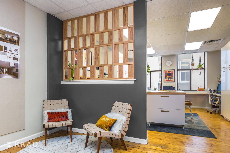 KKAD Newark Office Screen and Lounge Area