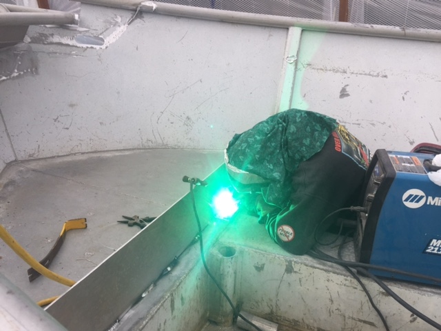 Tollef spent much of the spring welding, doing major modifications to one of our skiffs.