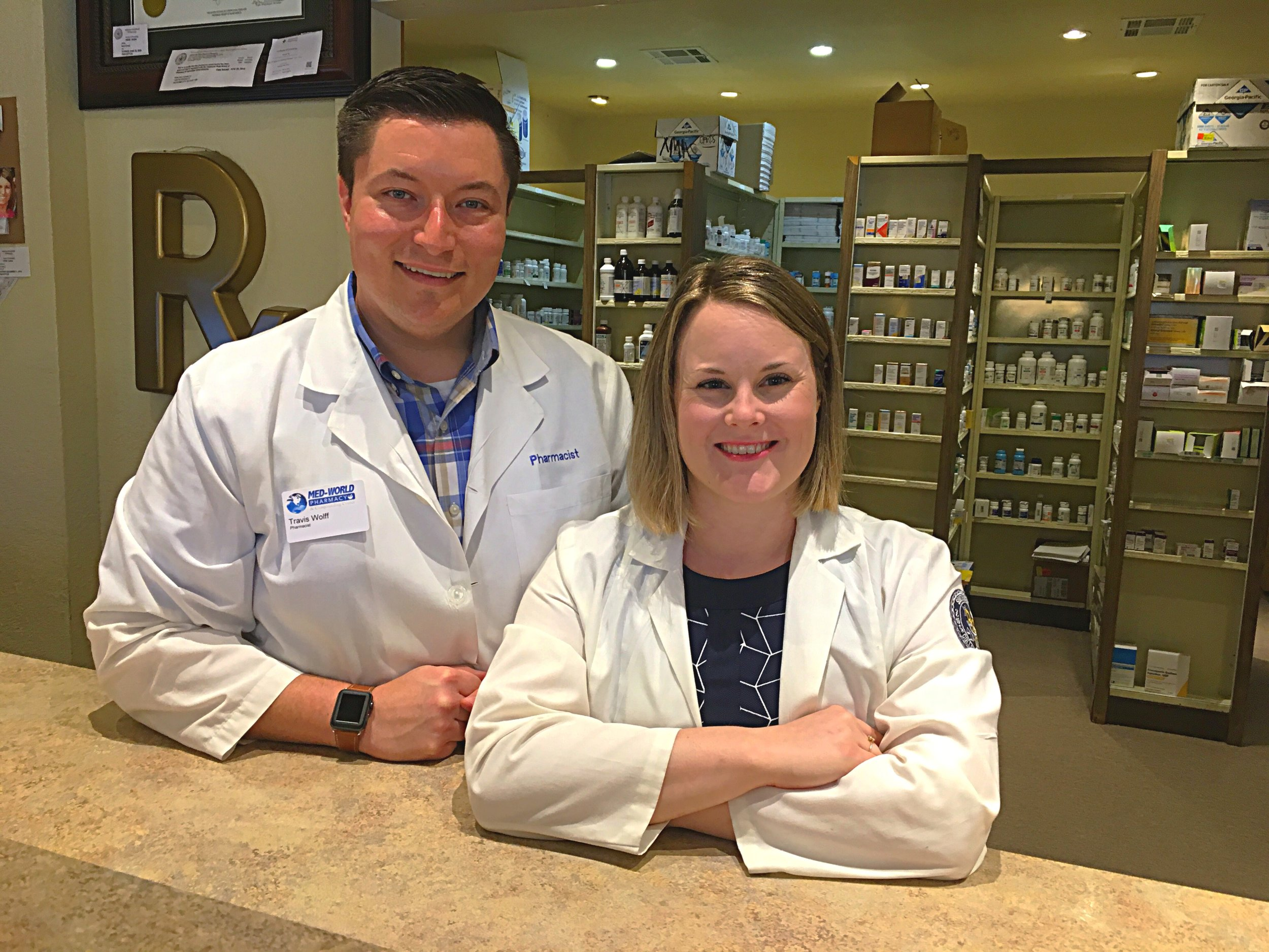 Travis and Sunni Wolff, PharmDs - Travis Wolff, PharmD, BCACPTravis is a community pharmacist and pharmacy owner of Med-World Pharmacy in Sapulpa and Apothecary Pharmacy in Mounds. He is a graduate of SWOSU College of Pharmacy. His passion lies in implementing clinical patient care models within a community pharmacy so that patients can have ultimate access to care. As a missionary to Haiti, Travis has long seen the need in this community and looks forward to serving alongside such exceptional people with CURA. Travis is married to his wife Sunni, and they have one son. He loves to read, cook, mow the yard, and work in his flower beds.Sunni Wolff, PharmDSunni is a graduate of Southwestern Oklahoma State University College of Pharmacy. She is a pharmacist at Med-World Pharmacy in Sapulpa and Apothecary Pharmacy in Mounds. Sunni and her husband Travis have one son, one dog, and one cat. Sunni enjoys coffee, reading, pilates, cooking, and working outside.