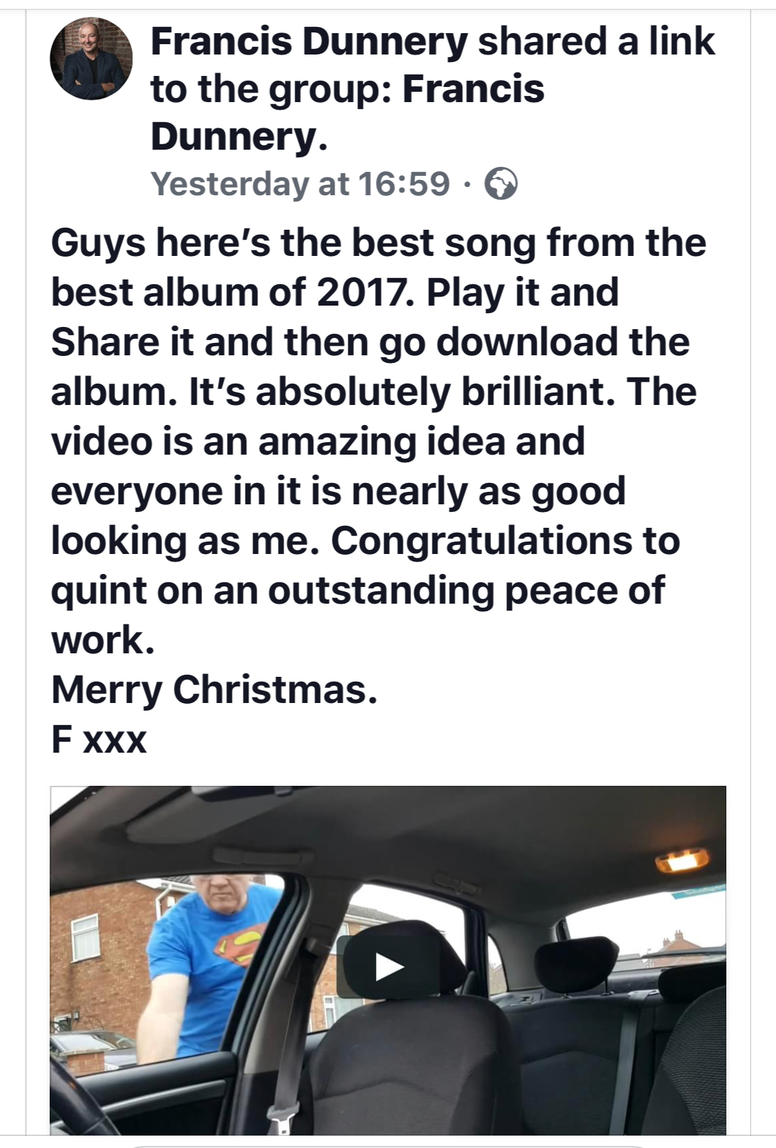 Fantastic review of the new video for Sarah by Francis Dunnery
