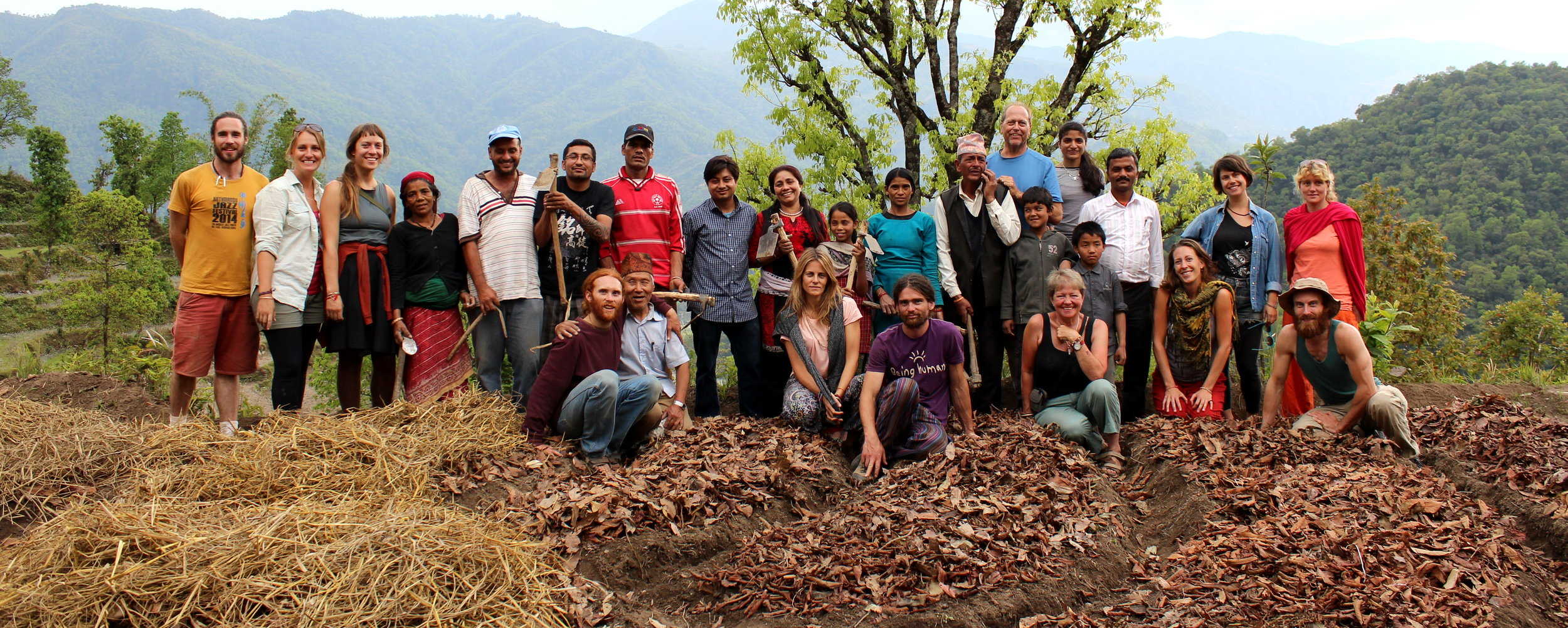 Nepal Adventure crew working with local people to regenerate the land.